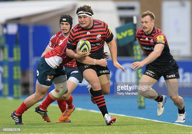Jamie George of Saracens tackled by Aled Davies of Scarlets during the LV= Cup match between Saracens and Scarlets at Allianz Park on November 17...
