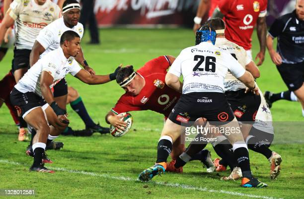 Jamie George of The British and Irish Lions scores their side's seventh try during the tour match between Cell C Sharks and the British & Irish Lions...