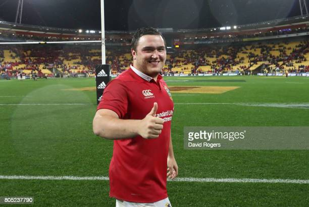 Jamie George of the Lions celebrates after their victory during the match between the New Zealand All Blacks and the British Irish Lions at Westpac...