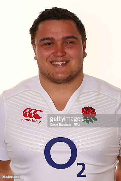 Jamie George poses during the England EPS Six Nations Squad Portrait session at Pennyhill Park on January 25 2016 in Bagshot England
