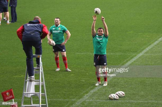 Jamie George the Lions hooker practices his throwing with forwards coach Steve Borthwick catching on the ladder during the British Irish Lions...