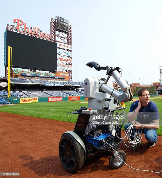 Jamie Gewirtz Staff Research Specialist Mechanical Engineering and Applied Mechanics of University of Pennsylvania's GRASP unveils the PhillieBot...