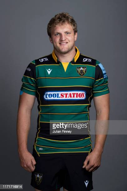 Jamie Gibson of Northampton Saints poses for a portrait during the Northampton Saints squad photocall for the 20192020 Gallagher Premiership Rugby...