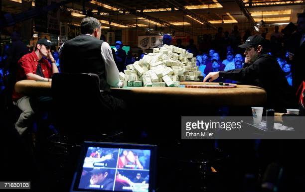 Jamie Gold of California and Paul Wasicka of Colorado go headsup on the final table of the World Series of Poker nolimit Texas Hold 'em main event at...