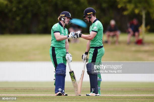 Jamie Grassi and Sam Murphy of Ireland in their partnership during the ICC U19 Cricket World Cup match between Sri Lanka and Ireland at Cobham Oval...