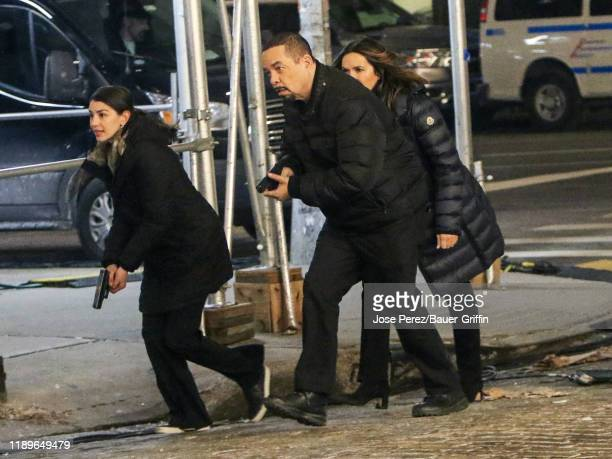Jamie Gray Hyder IceT and Mariska Hargitay are seen on the film set of 'Law and Order Special Victims Unit' on December 19 2019 in New York City