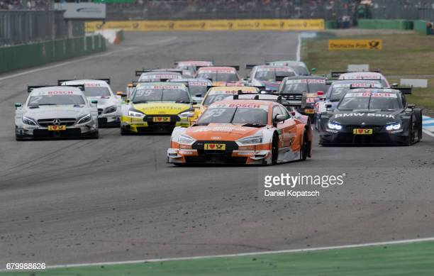 Jamie Green of Audi Sport Team Rosberg in action after a restart during race 2 of the DTM German Touring Car Hockenheim at Hockenheimring on May 7...