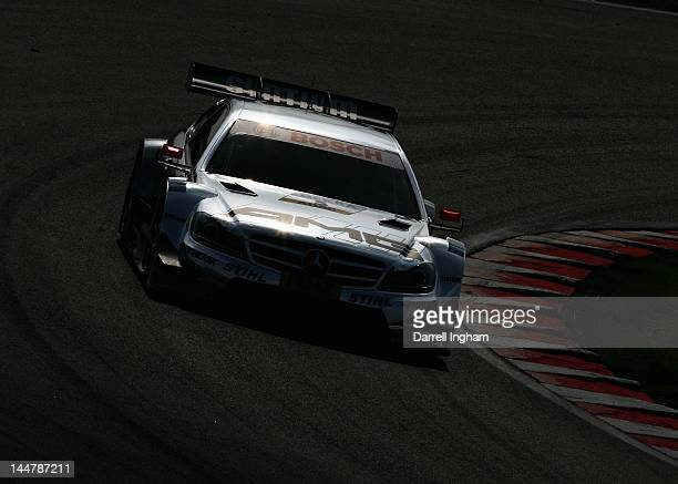Jamie Green of Great Britain drives the Mercedes AMG Mercedes AMG C Coupe during practice for the DTM German Touring Car Championship race at the...
