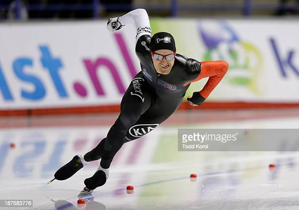 Jamie Gregg of Canada skates to a third place finish in the men's 500 meter race during the ISU World Cup Speed Skating event November 10 2013 in...