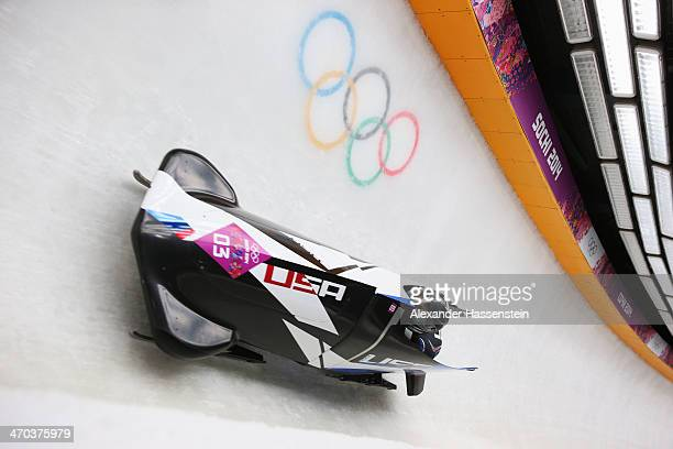 Jamie Greubel and Aja Evans of the United States team 2 make a run during the Women's Bobsleigh on Day 12 of the Sochi 2014 Winter Olympics at...