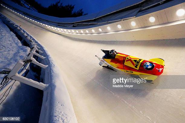 Jamie Greubel Poser and Aja Evans complete their second run during day 1 of the 2017 IBSF World Cup Bobsled & Skeleton at Lake Placid Olympic Center...