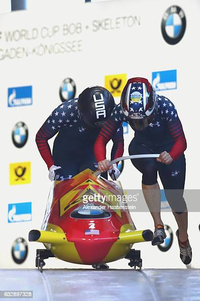 Jamie Greubel Poser and Aja Evans of USA competes during the Women's Bobsleight first run of the BMW IBSF World Cup at Deutsche Post Eisarena...