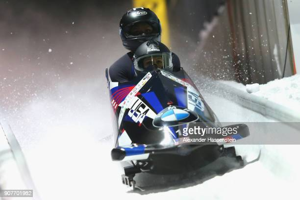 Jamie Greuberl Poser and Aja Evans of USA compete at Deutsche Post Eisarena Koenigssee during the BMW IBSF World Cup Women`s Bobsleigh World Cup on...