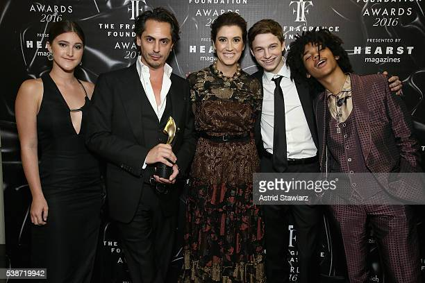 Jamie Grimstad Kilian Hennesy Elizabeth Musmanno Patrick Finnegan and Luka Sabbat pose backstage at the 2016 Fragrance Foundation Awards presented by...