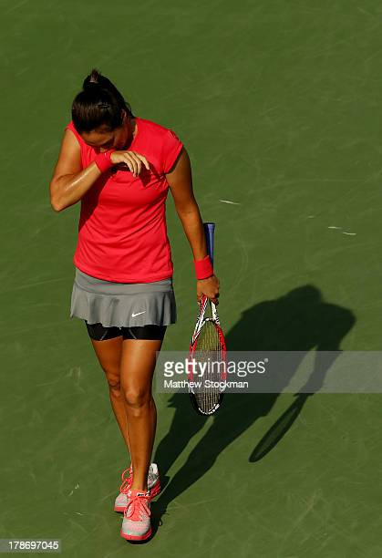 Jamie Hampton of the United States reacts during her women's singles third round match against Sloane Stephens of the United States on Day Five of...