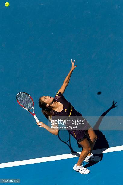 Jamie Hampton of the United States serves in her third round match against Victoria Azarenka of Belarus during day six of the 2013 Australian Open at...