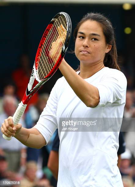 Jamie Hampton of the USA celebrates victory over Lucie Safarova of Czech Republic during day six of the AEGON International tennis tournament at...
