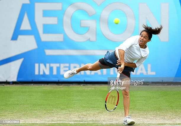 Jamie Hampton of the USA in action against Agnieszka Radwanska of Poland during day four of the AEGON International tennis tournament at Devonshire...