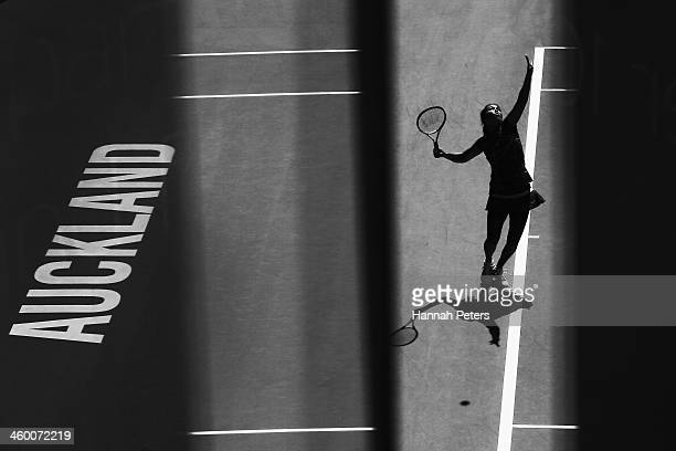 Jamie Hampton of the USA serves during her quarterfinal match against Lauren Davis of the USA on day four of the ASB Classic at the ASB Tennis Centre...