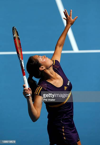 Jamie Hampton of the USA serves in her semifinal match against Agnieszka Radwanska of Poland during day five of the 2013 ASB Classic at the ASB Arena...