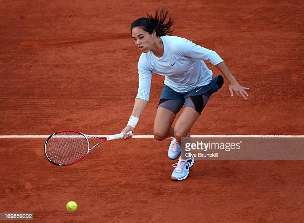 Jamie Hampton of United States of America plays a forehand in her Women's Singles match against Jelena Jankovic of Serbia during day nine of the...