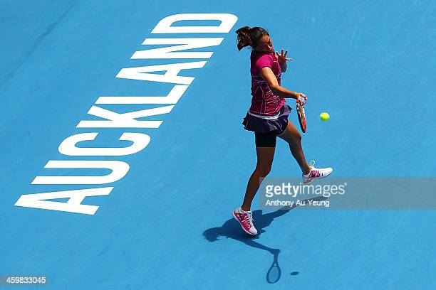 Jamie Hampton of United States plays a forehand against Kristyna Pliskova of Czech Republic during day three of the ASB Classic at ASB Tennis Centre...