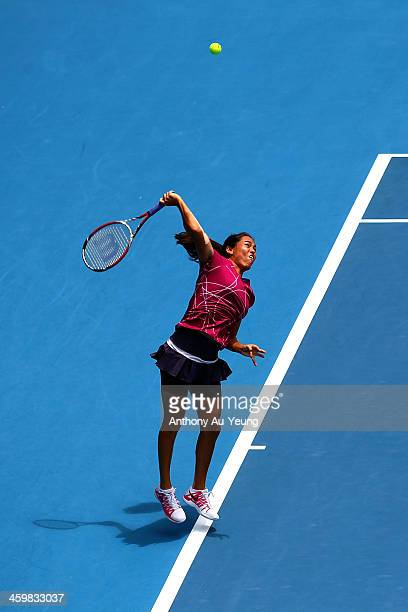 Jamie Hampton of United States serves against Kristyna Pliskova of Czech Republic during day three of the ASB Classic at ASB Tennis Centre on January...