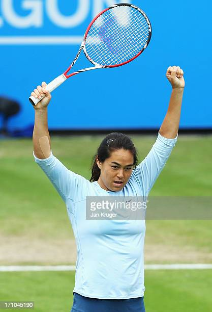 Jamie Hampton of USA celebrates victory in her women's singles semi final match against Caroline Wozniacki of Denmark during day seven of the AEGON...