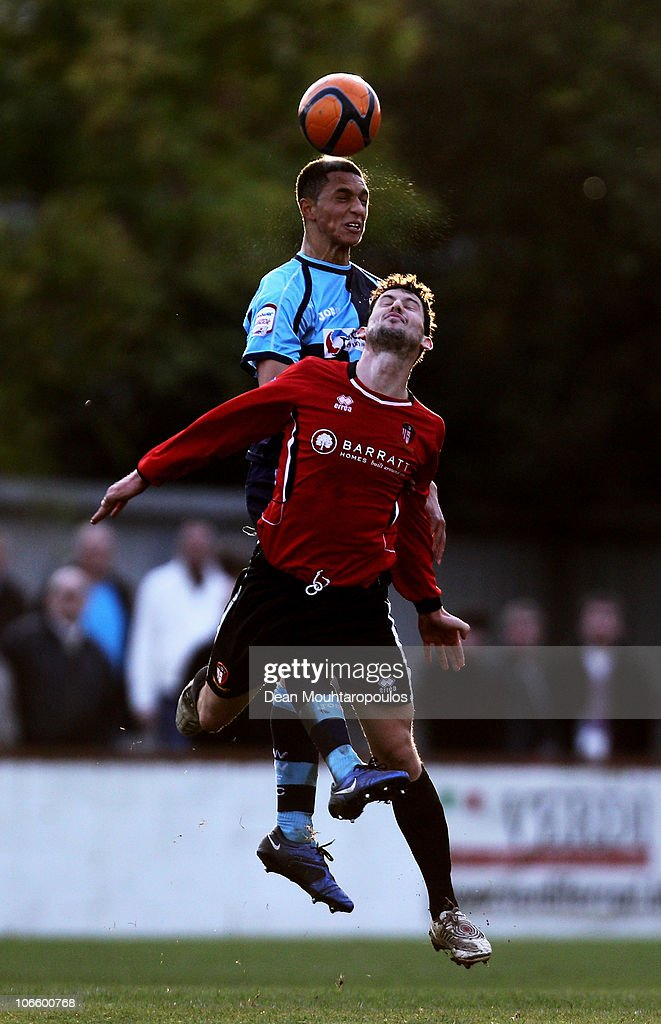 Jamie Hand of Hayes & Yeading is beaten to the header by Lewis Montrose of Wycombe during the Hayes and Yeading United FC and Wycombe Wanderers FA Cup 1st Round Proper match at Church Road on November 6, 2010 in Hayes, England.