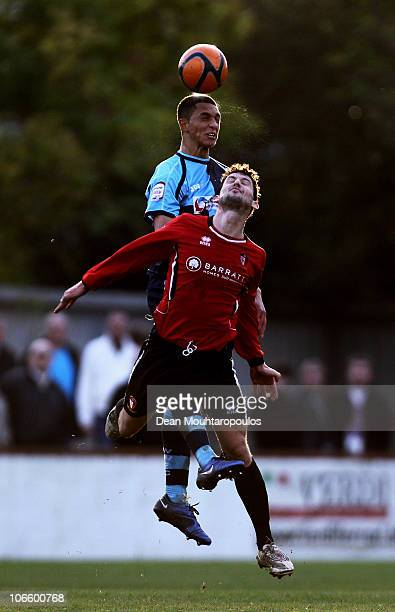 Jamie Hand of Hayes Yeading is beaten to the header by Lewis Montrose of Wycombe during the Hayes and Yeading United FC and Wycombe Wanderers FA Cup...