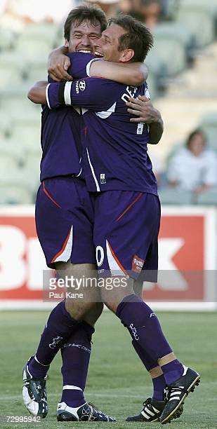 Jamie Harnwell and Bobby Despotovski of the Glory celebrate a goal during the round 20 Hyundai ALeague match between Perth Glory and the Newcastle...