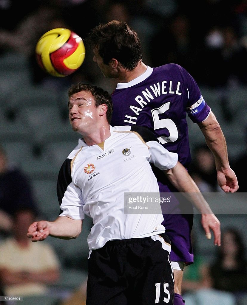 Jamie Harnwell of the Glory and Noah Hickey of the Knights contest the ball during the round seven Hyundai A-League match between Perth Glory and the New Zealand Knights at Members Equity Stadium October 6, 2006 in Perth, Australia.
