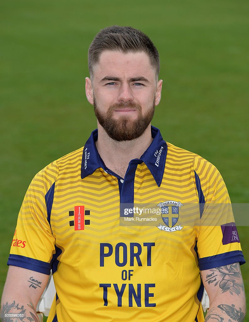 Jamie Harrison of Durham poses for a photograph in the One Day kit during the Durham County Cricket Club photocall at the Riverside on April 8, 2016 in Chester-Le-Street, England. (Photo by Mark Runnacles/Getty Images) Jamie Harrison