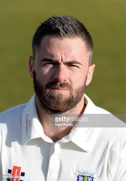 Jamie Harrison of Durham poses for a portrait during the Durham CCC Photocall at The Riverside on March 31 2015 in ChesterleStreet England