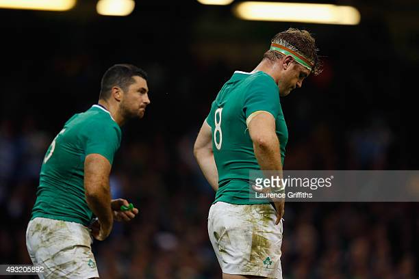 Jamie Heaslip and Jordi Murphy of Ireland show their dejection after conceding a try during the 2015 Rugby World Cup Quarter Final match between...