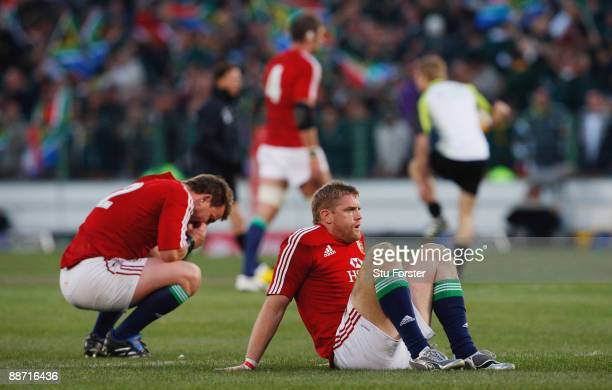 Jamie Heaslip and Matthew Rees of the Lions look dejected at the end of the Second Test match between the South Africa and the British and Irish...