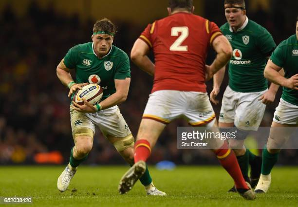 Jamie Heaslip of Ireland in action during the Six Nations match between Wales and Ireland at the Principality Stadium on March 10 2017 in Cardiff...