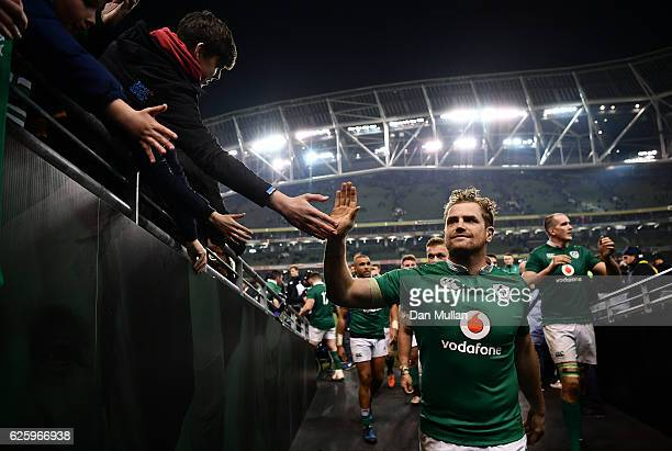 Jamie Heaslip of Ireland makes his way off the field following his side's victory during the international match between Ireland and Australia at the...