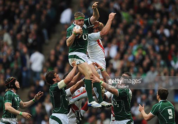 Jamie Heaslip of Ireland rises highest in the line out during the RBS 6 Nations Championship match between England and Ireland at Twickenham on March...