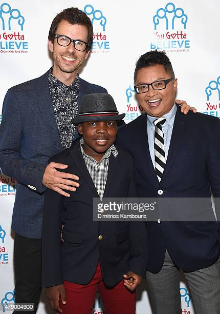 Jamie Hebert, Zion Hebert-Mapa and Alec Mapa attend Voices For The Voiceless: Stars For Foster Kids at St James Theater on June 29, 2015 in New York...