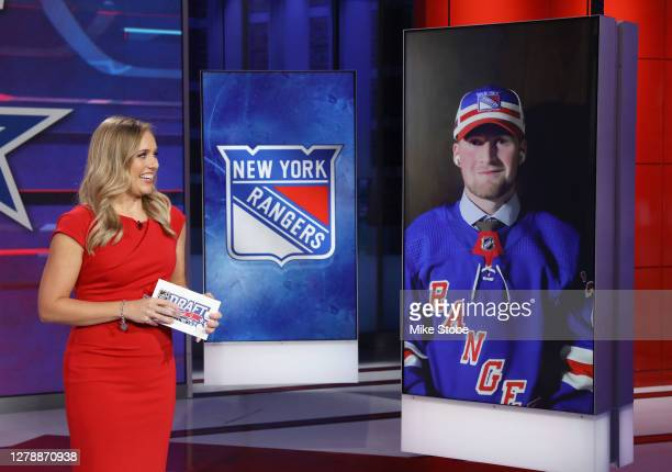 Jamie Hersch of the NHL Network interviews Alexis Lafreniere after his selection in the number one position by the New York Rangers in the 2020...