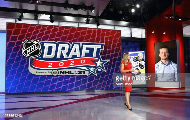 Jamie Hersch of the NHL Network interviews Alexis Lafreniere prior to the first round of the 2020 National Hockey League Draft at the NHL Network...