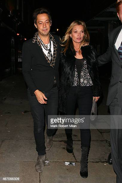 Jamie Hince and Kate Moss at J Sheeky restaurant on February 5 2014 in London England