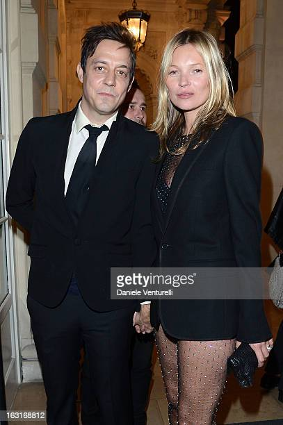 Jamie Hince and Kate Moss attend the 'CR Fashion Book Issue 2' Carine Roitfeld Cocktail as part of Paris Fashion Week at Hotel ShangriLa on March 5...