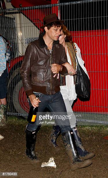 GLASTONBURY JUNE 27 Jamie Hince and Kate Moss attend the VIP Playstation Singstar Tent on June 27 2008 in Glastonbury England