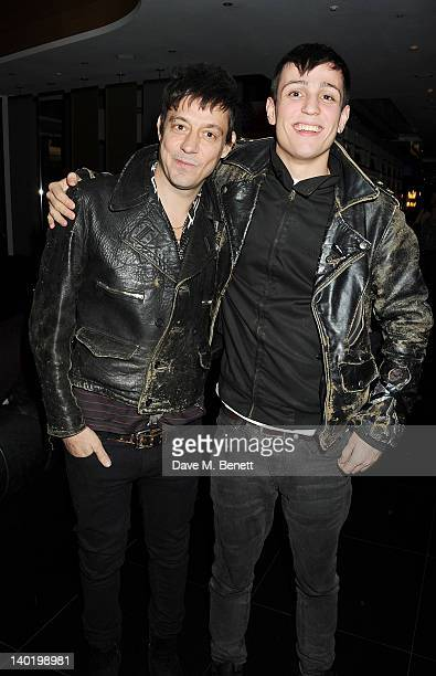Jamie Hince and Louis Simonon attend the Wyld Bar NME Awards after party at W London Leicester Square on February 29 2012 in London England