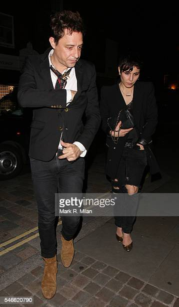 Jamie Hince and Noomi Rapace at the Chiltern Firehouse on July 12 2016 in London England