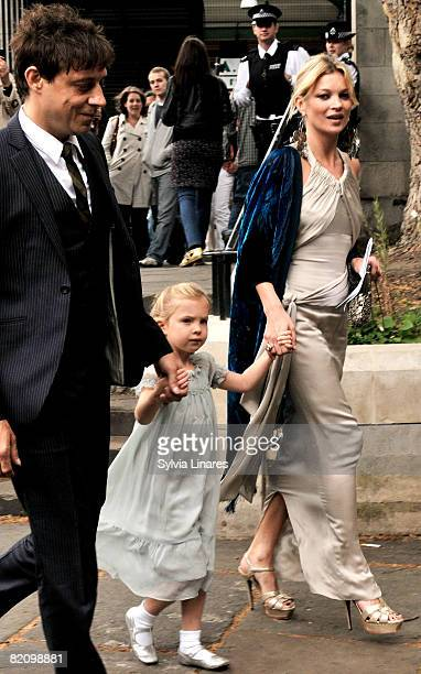 Jamie Hince Kate Moss and her daughter attend Leah Wood and Jack Macdonald's wedding at Southwark Cathedral on June 21 2008 in London England