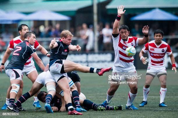 Jamie Hood of Hong Kong in action during the Asia Rugby Championship 2017 match between Hong Kong and Japan on May 13 2017 in Hong Kong Hong Kong