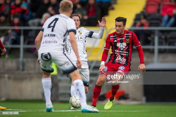 Jamie Hopcutt of Ostersunds FK and Erik Friberg of BK Hacken competes for the ball during the Allsvenskan match between Ostersunds FK and BK Hacken...